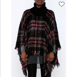 NEW Charlie Paige Plaid Poncho